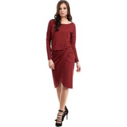 Odzież damska: Bordowa Sukienka Dzianinowa z Kopertowym Dołem