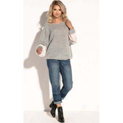 Szary Oversizowy Sweter z Bufiastym Rękawem w Paski. Szare swetry oversize damskie Molly.pl, uniwersalny, z jeansu. Za 126,90 zł.