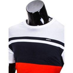 T-SHIRT MĘSKI BEZ NADRUKU S844 - GRANATOWY/CZERWONY. Czarne t-shirty męskie z nadrukiem marki Ombre Clothing, m, z bawełny, z kapturem. Za 29,00 zł.