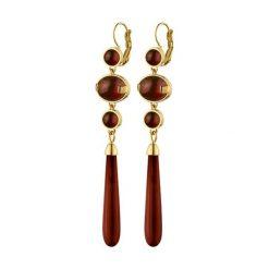 Kolczyki damskie: Kolczyki w kolorze złotym z jaspisami