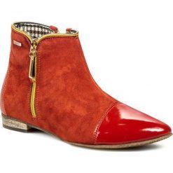 Botki NEŚCIOR - 77-M Pomarańczowy. Brązowe buty zimowe damskie Neścior, z lakierowanej skóry, na zamek. W wyprzedaży za 219,00 zł.