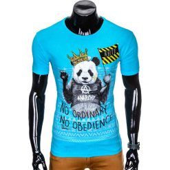 T-shirty męskie: T-SHIRT MĘSKI Z NADRUKIEM S931 - BŁĘKITNY