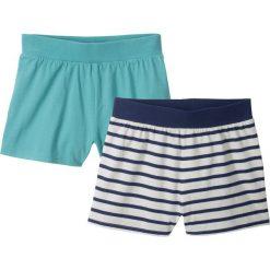 Odzież dziecięca: Krótkie spodenki (2 pary) bonprix w niebieskie paski + zielony morski