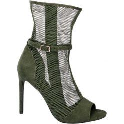 Sandały na obcasie Catwalk khaki. Brązowe sandały damskie Catwalk, z materiału, na obcasie. Za 139,00 zł.