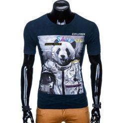 T-shirty męskie: T-SHIRT MĘSKI Z NADRUKIEM S923 – GRANATOWY