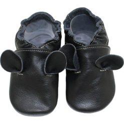 Buciki niemowlęce: SKÓRZANE BUCIKI baBice myszka czerń