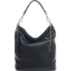 Torebki klasyczne damskie: Skórzana torebka w kolorze czarnym – 26 x 28 x 12 cm