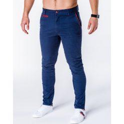 SPODNIE MĘSKIE CHINO P646 - GRANATOWE. Niebieskie chinosy męskie Ombre Clothing, z bawełny. Za 59,00 zł.