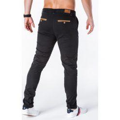 SPODNIE MĘSKIE CHINO P646 - CZARNE. Czarne chinosy męskie Ombre Clothing, z bawełny. Za 59,00 zł.