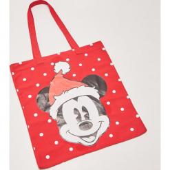 Materiałowa torba Mickey Mouse - Czerwony. Czerwone torebki klasyczne damskie House, z motywem z bajki, z materiału. Za 25,99 zł.