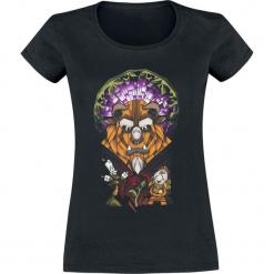 Piękna i Bestia Stained Glass Koszulka damska czarny. Czarne bluzki asymetryczne Piękna i Bestia, l, z nadrukiem, z okrągłym kołnierzem. Za 74,90 zł.