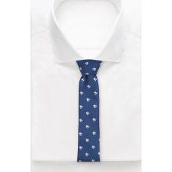 Krawaty męskie: Niebieski krawat w owady – Granatowy