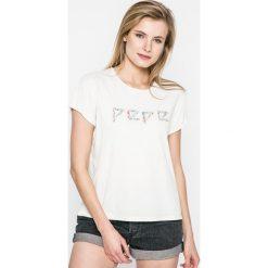 Pepe Jeans - Top. Szare topy sportowe damskie Pepe Jeans, l, z nadrukiem, z bawełny, z okrągłym kołnierzem. W wyprzedaży za 89,90 zł.