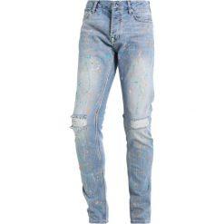 Topman PAINT RIP Jeans Skinny Fit blue. Niebieskie rurki męskie Topman. W wyprzedaży za 224,10 zł.