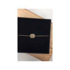 Bransoletki damskie: Srebrna pozłacana bransoletka kwadrat ażurowy
