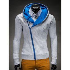 BLUZA MĘSKA ROZPINANA Z KAPTUREM PRIMO - SZARO/NIEBIESKA. Niebieskie bluzy męskie rozpinane Ombre Clothing, m, z bawełny, z kapturem. Za 75,00 zł.