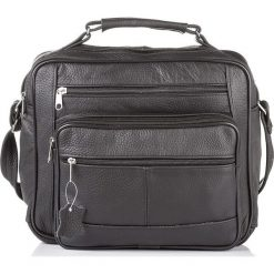 Skórzana męska czarna torba ABRUZZO William. Czarne torby na ramię męskie marki Abruzzo, ze skóry. Za 149,00 zł.