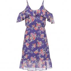Sukienka z falbanami: must have bonprix hiacyntowy z nadrukiem. Fioletowe sukienki letnie marki bonprix, z nadrukiem. Za 44,99 zł.