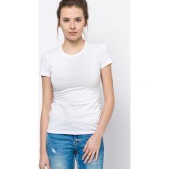 Bluzki damskie: Bluzka basic krótki rękaw okrągły dekolt biała