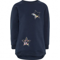 """Bluza """"Rastine"""" w kolorze granatowym. Niebieskie bluzy niemowlęce Name it Kids, z aplikacjami, z bawełny. W wyprzedaży za 62,95 zł."""