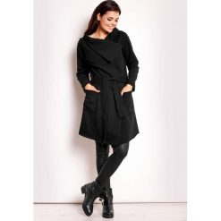 Płaszcze damskie pastelowe: Czarny Płaszcz Szlafrokowy Dresowy
