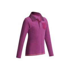 Koszulka polo śliwka / groszki. Fioletowe bluzki dziewczęce z długim rękawem FOUGANZA, w grochy, polo. W wyprzedaży za 34,99 zł.