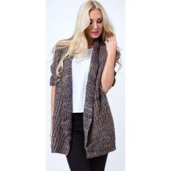 Swetry damskie: Brązowy Blezer Swetrowy BB20399