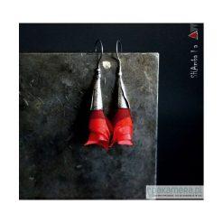 Kolczyki damskie: Srebrne kolczyki wiszące z tkaniną BALAI