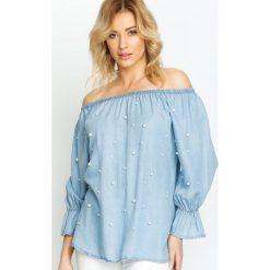 Niebieska Bluzka Ready On Summer. Niebieskie bluzki z odkrytymi ramionami Born2be, m, z aplikacjami, z okrągłym kołnierzem. Za 49,99 zł.