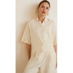 Mango - Koszula Ines. Szare koszule damskie Mango, l, z lyocellu, klasyczne, z klasycznym kołnierzykiem, z krótkim rękawem. Za 139,90 zł.