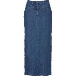 """Spódnica dżinsowa z ozdobnymi paskami bonprix niebieski """"stone"""". Niebieskie spódniczki bonprix, w paski. Za 89,99 zł."""