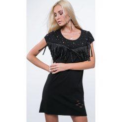 Sukienki hiszpanki: Sukienka z frędzlami czarna ZZ1111
