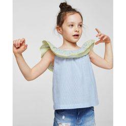 Mango Kids - Top dziecięcy Swis 110-164 cm. Szare bluzki dziewczęce bawełniane Mango Kids, z aplikacjami, z dekoltem w łódkę, bez rękawów. W wyprzedaży za 49,90 zł.
