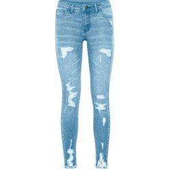 """Dżinsy Super Skinny """"destroyed"""" bonprix jasnoniebieski """"bleached"""". Niebieskie jeansy damskie skinny bonprix, z jeansu. Za 109,99 zł."""