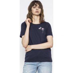 Vero Moda - Top. Szare topy damskie marki Vero Moda, s, z nadrukiem, z bawełny, z okrągłym kołnierzem. W wyprzedaży za 29,90 zł.
