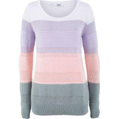 Swetry klasyczne damskie: Sweter bonprix fiołkowy bez w paski