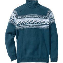 Sweter z golfem Regular Fit bonprix niebieskozielony morski. Zielone golfy męskie marki bonprix, m. Za 37,99 zł.
