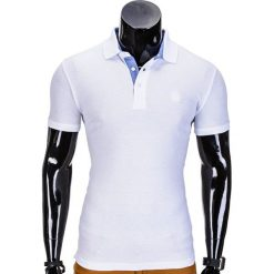 KOSZULKA MĘSKA POLO BEZ NADRUKU S837 - BIAŁA. Czarne koszulki polo marki Ombre Clothing, m, z bawełny, z kapturem. Za 39,00 zł.