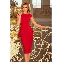 KLAUDIA Elegancka sukienka MIDI z baskinką - CZERWONA. Czerwone sukienki asymetryczne numoco, s, eleganckie, z asymetrycznym kołnierzem, midi. Za 154,90 zł.