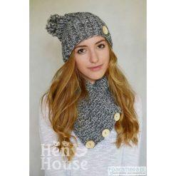 Czapki zimowe damskie: Szary otulacz – czapka + komin