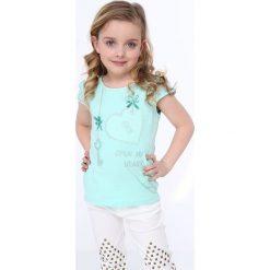 Odzież dziecięca: Koszulka z koronkowymi rękawami miętowa NDZ8147