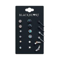 Blackheart Ear Stud Collection Kolczyki - Earpin wielokolorowy. Czarne kolczyki damskie Blackheart, szklane. Za 62,90 zł.
