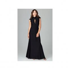 Sukienka K486 Czarny. Czarne długie sukienki Lenitif, l, eleganckie, z falbankami, dopasowane. Za 179,00 zł.