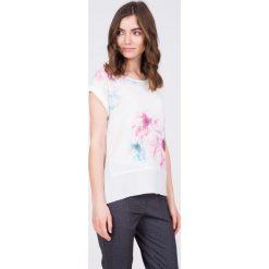 Bluzki asymetryczne: Bluzka ecru w pastelowe kwiaty QUIOSQUE