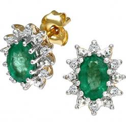 Złote kolczyki-wkrętki z diamentami i szmaragdami. Żółte kolczyki damskie REVONI, z diamentem, złote. W wyprzedaży za 861,95 zł.