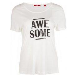 S.Oliver T-Shirt Damski 36 Kremowy. Białe t-shirty damskie S.Oliver, s, z napisami. Za 60,00 zł.