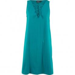 Sukienka shirtowa ze sznurowaniem bonprix kobaltowo-turkusowy. Niebieskie sukienki bonprix, ze sznurowanym dekoltem. Za 44,99 zł.
