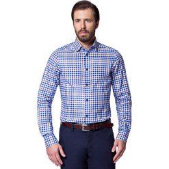 Koszula Niebieska w Kratę Zita. Niebieskie koszule męskie na spinki marki LANCERTO, l, z bawełny. W wyprzedaży za 149,90 zł.