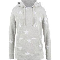 Bluza z kapturem i nadrukiem w gwiazdy bonprix jasnoszary melanż z nadrukiem. Szare bluzy rozpinane damskie bonprix, melanż, z kapturem. Za 74,99 zł.