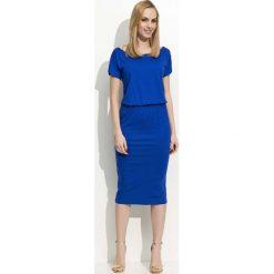 Chabrowa Sukienka Midi z Gumką w Talii. Niebieskie sukienki balowe marki Reserved, l, midi. Za 98,90 zł.